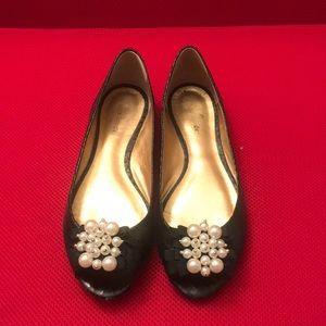Kate Spade black pearl peep toe flats